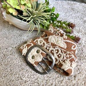 Accessories - Cream & Brown Embroidered Belt
